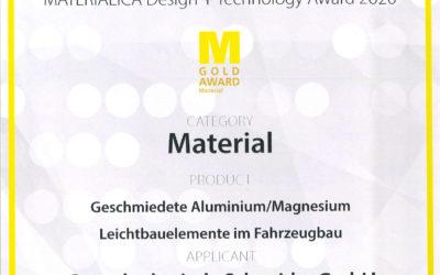 Auszeichnung mit dem Materialica Gold Award